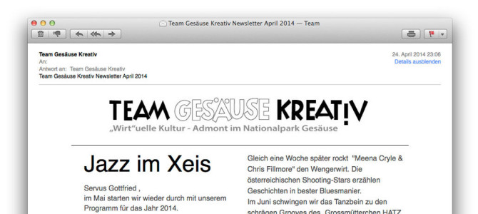 Team Gesäuse Kreativ Newsletter April 2014