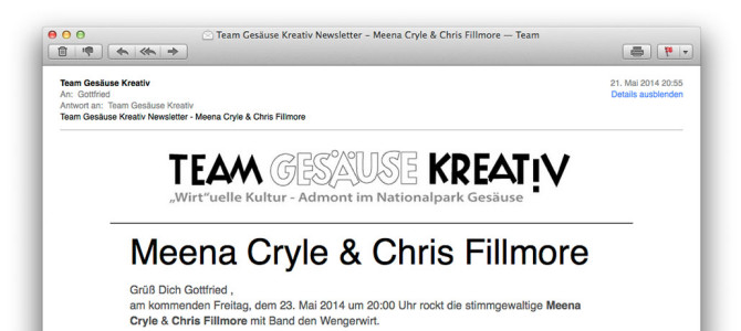 Team Gesäuse Kreativ Newsletter – Meena Cryle & Chris Fillmore