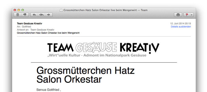 Newsletter – Grossmütterchen Hatz Salon Orkestar